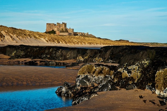 Bamburgh Castle from the South.